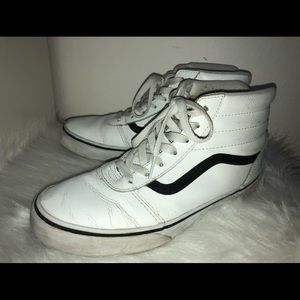 White Leather Vans (High Tops)